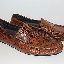 Donald J Pliner Vinco2 Drivers Tan Crocodile Embossed Leather Penny Loafer 10m Photo
