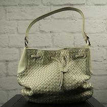 Donald J Pliner White Leather Women's Satchel Handbag Purse - Drop15 Photo