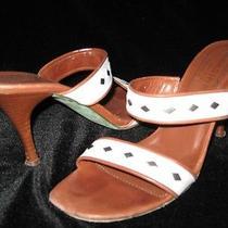 Donald J Pliner White Tan Wood Wood Stack High Heel Sandals 8 Photo