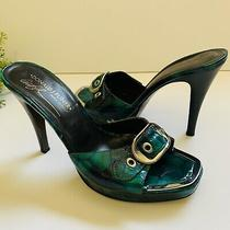 Donald J Pliner Woman Sandal Heels Sz 7.5m Crocs Green Blue Silver Buckle  Photo