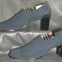 Donald J Pliner Women's Blue Fabric W/leather Trim Slip on Pump Shoes Size Us 9n Photo