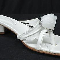 Donald J. Pliner Women's Size 7.5 M White Sandals Shoes Wedding Low Heel Rose Photo