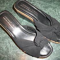 Donald J Pliner Women Slide Wedge Heel 3'' Sandal Shoe Size 6 Medium Black Fabri Photo
