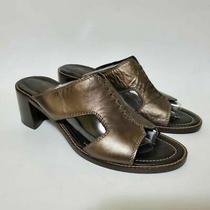 Donald J Pliner Womens 10 Slide Sandals Metallic Block Heels Slip Ons Photo
