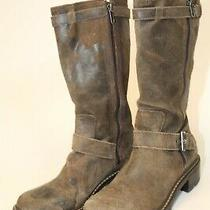 Donald J Pliner Womens 7.5 M Gilsey Brown Distressed Suede Harness Riding Boots Photo