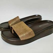 Donald J Pliner Womens 9.5 Fiji Slide Sandals Brown Gold Platform Heels Slip Ons Photo