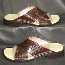 Donald J Pliner Womens Brown Croc Print Leather Open Toe Slide Mule Sandal Sz 6m Photo
