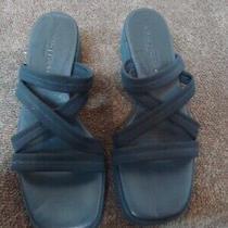 Donald J Pliner Womens Heel Sandals Slip on Stretch Straps Blue Size 6 Medium Photo