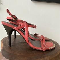 Donald J Pliner Womens Pink Leather Straps Heels Sandals Brass Detail Size 6 M Photo