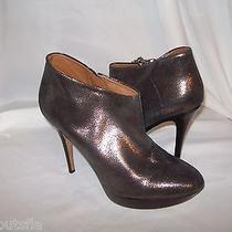 Donald J Pliner Xeon 9.5 M New Womens Pewter Metallic Ankle Boots Shoes Heels Photo