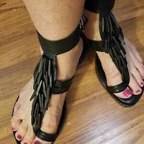 Donald Pliner Couture Black Wood Fringe Ankle strap& Toe Ring Sandals Sz 7 Photo