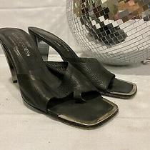Donald Pliner Couture Slip on Open Toe Mules Black Leather Silver Trim 9.5 M Photo