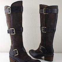 Donald Pliner Dax Tall Chocolate Brown Buckle Knee High Boots Womens Us 7.5 425 Photo