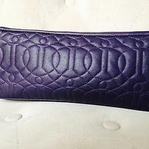 Donald Pliner Purple Leather Clutch With Optional Wrist Strap Photo