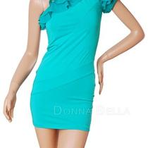Donna Bella Sexy One Shoulder Short Sleeve Ruffle Bodycon Dress Cocktail Party Photo