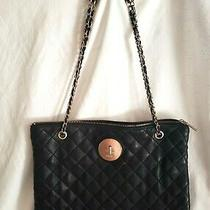 Donna Karan Black Lamb Quilted Leather Tote Shoulder Bag Gold Chain Photo