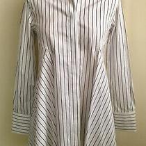 Donna Karan Blouse Button Down Shirt Striped Cotton New Size Xs Photo