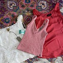 Donna Karan Caslon Guess Pink White S Xs Lot of 3 Tank Top Shirt Crochet Ribbed Photo