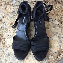 Donna Karan Dkny Black Canvas  Wedge Ankle Tie Size - 6-M Made in Spain Photo