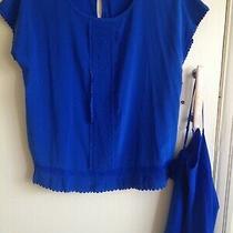Donna Karan Dkny Blue Silk Top & Chemise Scalloped Edged Size S Photo