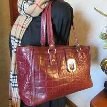 Donna Karan Dkny  Burgundy Leather Croco Print Shoppers Tote Bag Photo