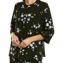 Donna Karan Floral Black/white 3/4 Sleeve Buttoned Viscose Pajama Top Size 3x Photo