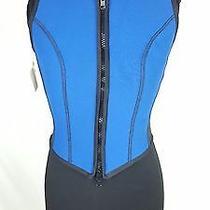 Donna Karan New York 90s Vintage Neoprene Scuba Black Blue Vest Top Xs Dkny New Photo