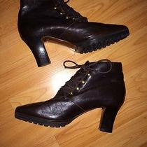 Donna Karan New York Chocolate Brown Leather Boots Size 6 Med Italy Lace Up Photo