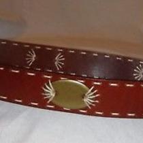 Donna Karan New York Dkny Brown Genuine Leather Belt Aztec Design Women's Size M Photo