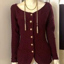 Donna Karan New York Wool Petite (Small) Women's Coat Jacket Burgandy Photo