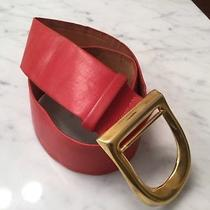 Donna Karan Wide Wave Curved Leather Belt Red W/gold Buckle Sz S Photo