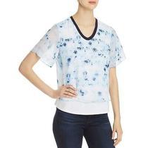 Donna Karan Womens Blue Printed Layered Tee Top Shirt L Bhfo 3985 Photo