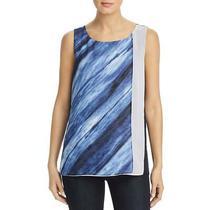 Donna Karan Womens Blue Printed Tiered Tank Blouse Top Xxs Bhfo 6308 Photo