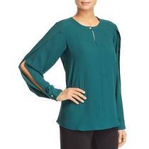 Donna Karan Womens Green Crew Neck Split Sleeves Blouse Top M Bhfo 4766 Photo