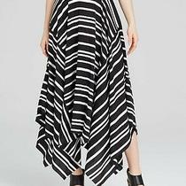 Donna Karan Womens White Striped Midi Trapeze Skirt Size 10 Photo