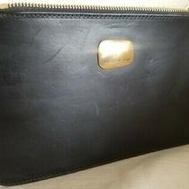 Donna Karen Black Leather Zippered Clutch Pouch Cosmetics Jewelry Travel Bag Photo