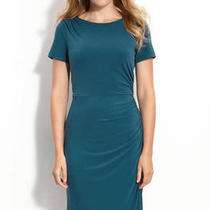 Donna Morgan Jersey Sheath Dress Teal Aqua 8p Photo