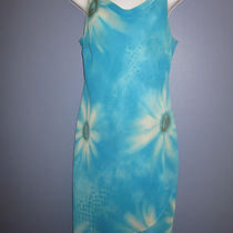 Donna Ricco Aqua Blue Floral Print Drape Neck Spaghetti Strap Dress Size 6p Photo
