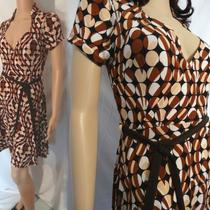 Donutz Inc Brown Polka Dot / Geometric Dress Size M  / Usa Photo