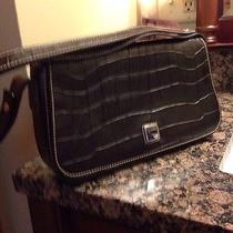 Dooney and Bourke Black Leather Croc Bag With Silver Trim Photo