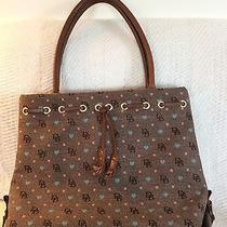 Dooney and Bourke Brown Canvas Tote With Blue Heartspink Squares Leather Handles Photo