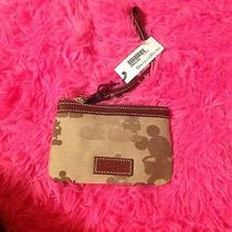Dooney and Bourke Brown Print & Leather  Mickey Mouse Disney Wristlet Nwt  Photo