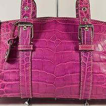 Dooney and Bourke Croc Leather Nile Collection Classic Satchel in Orchid Guc  Photo