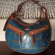 Dooney and Bourke Croco Embossed Turquoise Leather Medium Zipper  Hobo 380 Photo