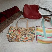 Dooney and Bourke Handbag/coach Handbag/red Jones New York Handbag/two Scarves Photo