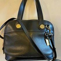 Dooney and Bourke Handbag Purse Cabriolet Black Leather Perforated Domed  Photo