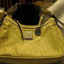 Dooney and Bourke Handbag Purse Hobo Small Ostrich Leather Authentic Wheat Cream Photo