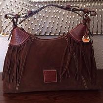 Dooney and Bourke Hobo Brown Suede Fringe Shoulder Bag Purse 360 Photo