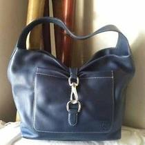 Dooney and Bourke Large Hobo Blue Pebbled Leather Bag Photo