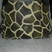 Dooney and Bourke Leather Giraffe Hobo Shoulder Hand Bag Brown/ecru Lg Photo